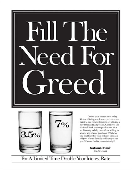One Page Bank Ad by Megan Bouwkamp